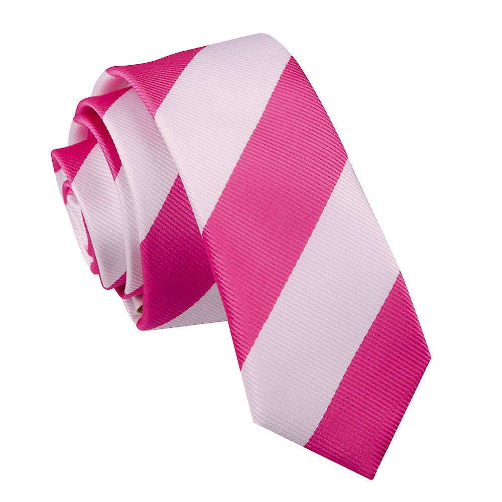 Striped Hot Pink & White Skinny Tie