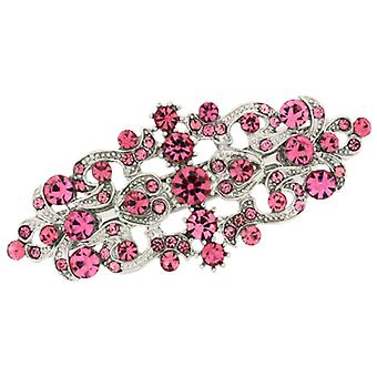 Bridal Hair Accessories Pink Swarovski Crystal Victorian Hair Barrette