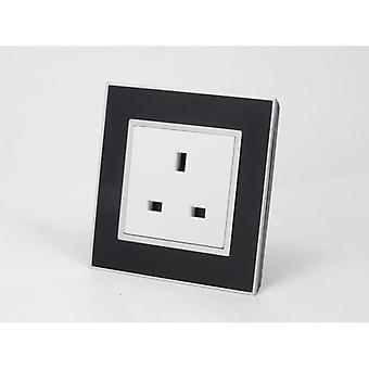 I LumoS AS Luxury Black Mirror Glass Single Unswitched Wall Plug 13A UK Sockets