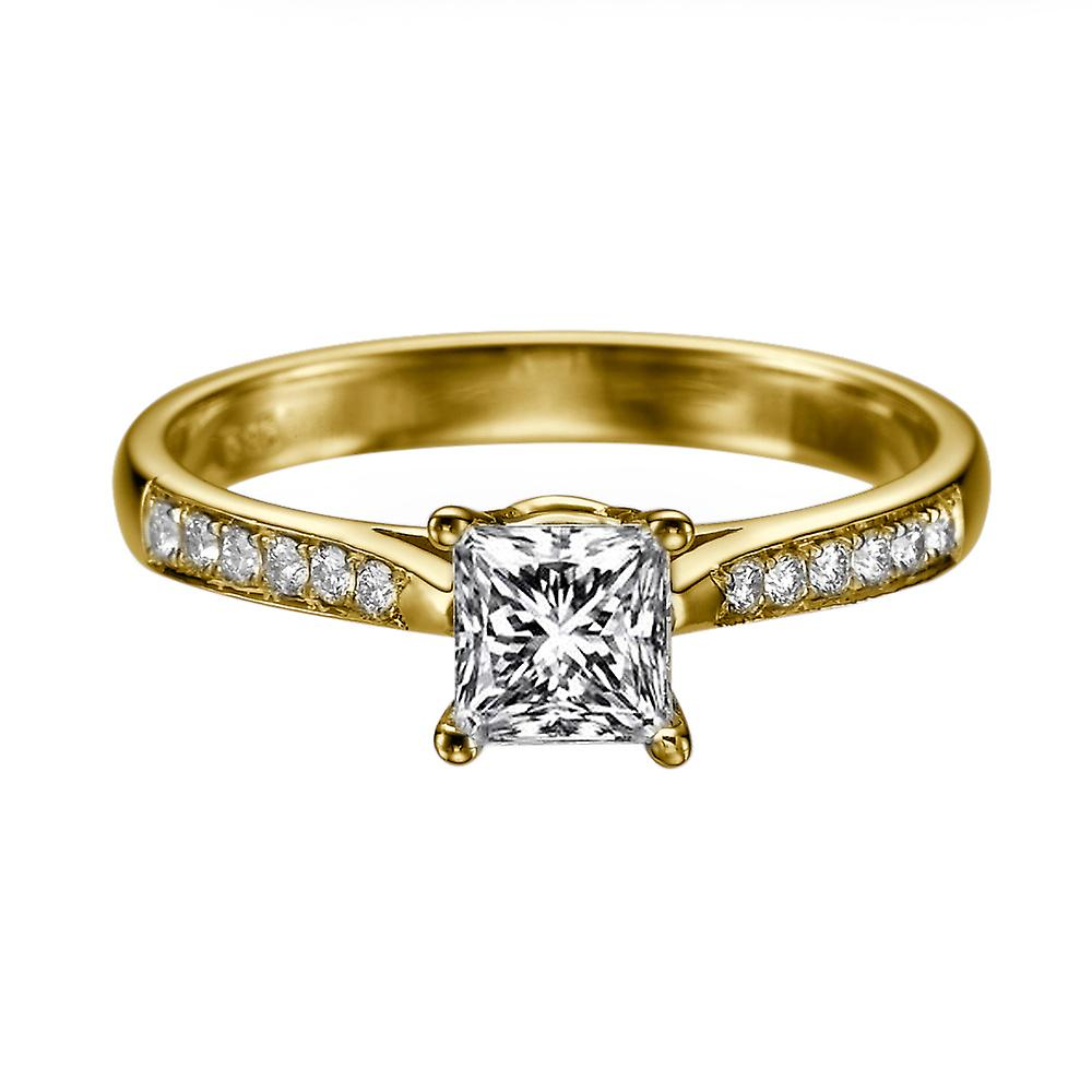 1.52 Carat H VS1 Diamond Engagement Ring 14K jaune or Solitaire w Accents Channel Set Cathedral