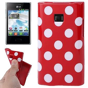Protective case TPU points of case for mobile LG Optimus L3 / E400 Red