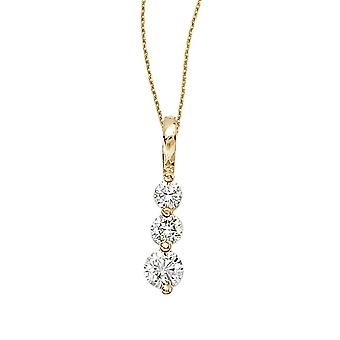 14k Yellow Gold 0.50 Ct Three Stone Diamond Pendant with 18