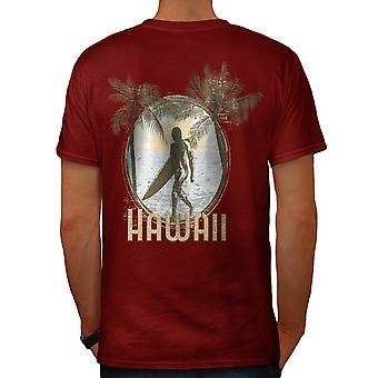 Hawaii Verenigde Staten Surfer Palm Beach mannen rode T-shirt Back | Wellcoda