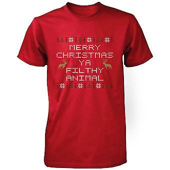 Frohe Weihnachten Ya schmutzig Tier rot Kurzarm-x-mas-T-Shirt