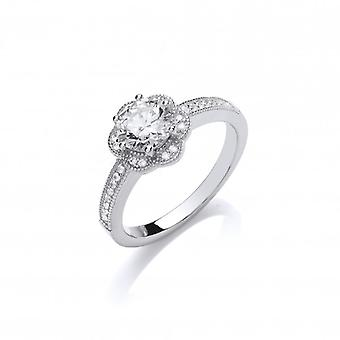 Cavendish French Silver and CZ Flower Ring