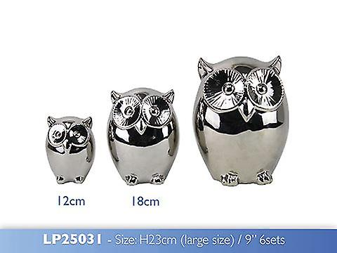 Large Silver Art Owl Family Display Ornament Gift Idea