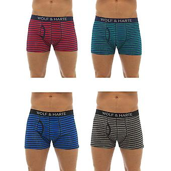 Wolf & Harte  Designer Cotton Stretch Striped Boxer Short Trunk 4 Pair Pack