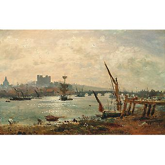 Frederick Nash - Rochester Cathedral and Castle Poster Print Giclee