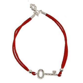 W.A.T Red Satin  925 Sterling Silver Crystal Key Friendship Bracelet