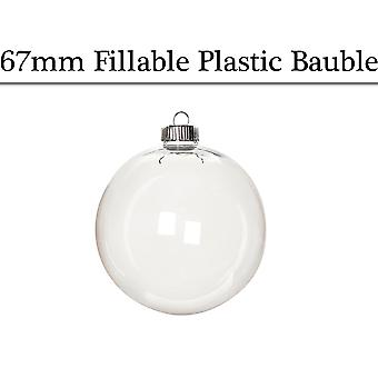 Single 67mm Round Fillable Plastic Christmas Bauble