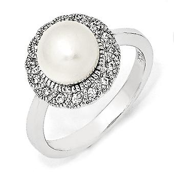 Sterling Silver Rhodium-plated Cubic Zirconia White Freshwater Cultured Pearl Ring - Ring Size: 6 to 8