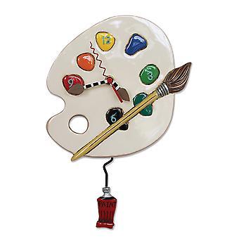Allen design kunst tid malerens fargepalett pendel vegg klokke
