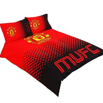 Manchester United FC Official Fade Reversible Football Crest Duvet Set