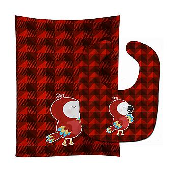 Carolines Treasures  BB7024STBU Parrot Baby Bib & Burp Cloth