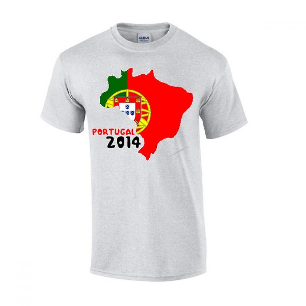 T-shirt Flag Portogallo 2014 paese (grigio)