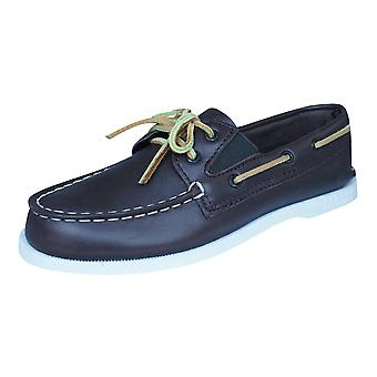 Sperry A/O Slip On Boys Leather Deck / Boat  Shoes - Brown