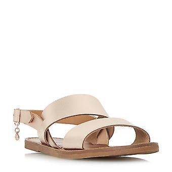 Dune Mesdames LOWPEZ Double sangle sandale plate en or Rose