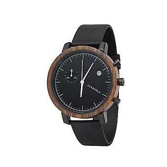 Notched wooden Franz sandalwood midnight black mens watch chronograph 4251240403984