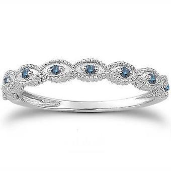 1/10 cttw Vintage Blue Diamond Wedding Ring 14K White Gold