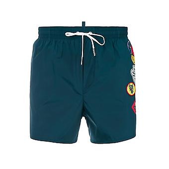 DSQUARED2 DSQUARED2 Teal Patch Swim Short