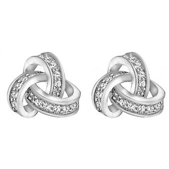 IBB London Large Cubic Zirconia Knot Earrings - Silver