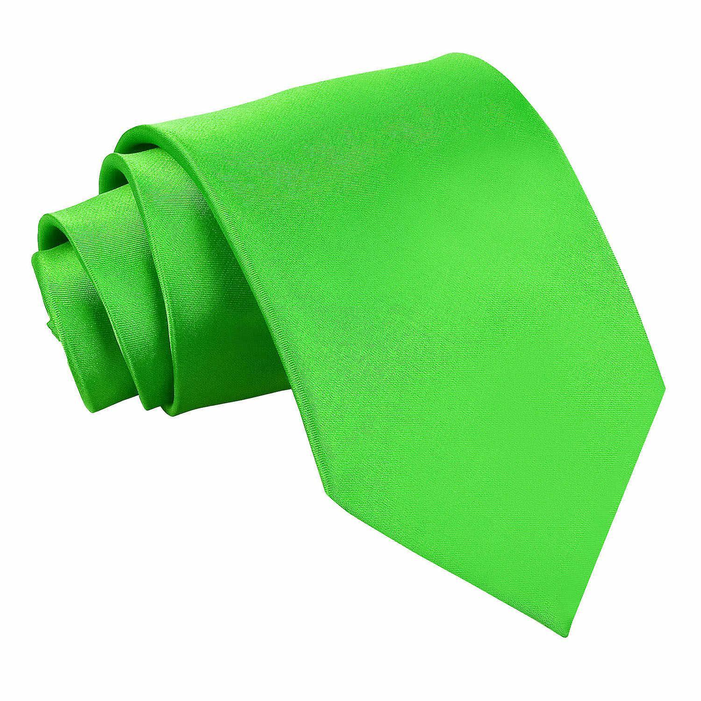 Apple Green Plain Satin Classic Tie