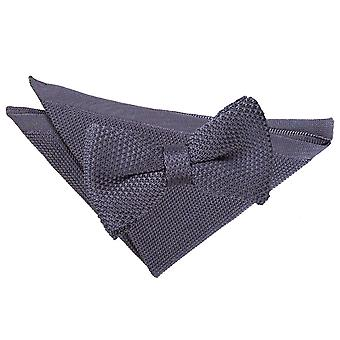 Charcoal Knitted Bow Tie & Pocket Square Set