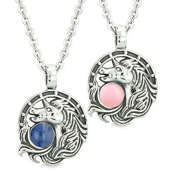 Unicorn Best Friends or Love Couples Amulets Lucky Horse Shoe Blue Baby Pink Pendant Necklaces