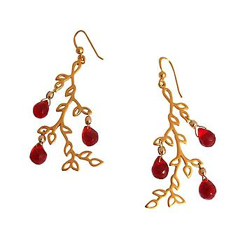 LEAVES - jade - RED Gemshine - ladies - earrings - red - 925 Silver - gold plated - 6 cm