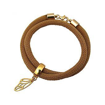 Brown - vlinder - Vergulde damesarmband - wrap armband - 925 zilver-
