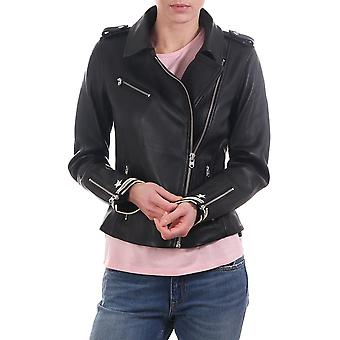 Maison Scotch Leather Jacket With Striped Cuff