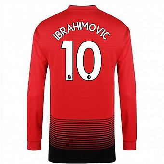 2018-2019 Man Utd Adidas Home Long Sleeve Shirt (Ibrahimovic 10)