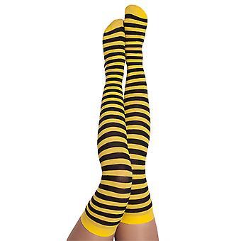 Traje de abeja rayada negro/amarillo de la abeja de Overknees, 70DEN