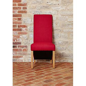 Oak Full Back Upholstered Dining Chair - Berry (Pack of Two)- Baumhaus