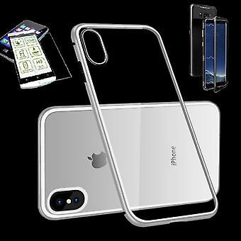 Für Apple iPhone X 10 5.8 / XS 5.8 2018 Magnet / Metall / Glas Tasche Case Silber / Weiß / Transparent + 0,26 mm H9 Hart Glas