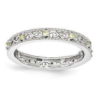 3mm Sterlingsilber polierte Zinke Satz rhodinierten stapelbar Ausdrücke Peridot-Ring - Ring-Größe: 5 bis 10