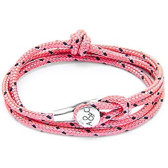 Anchor and Crew Dundee Silver and Rope Bracelet - Pink
