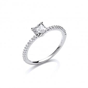 Cavendish French Silver and square cubic zirconia solitaire ring