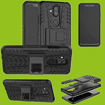 Für Nokia 3.1 Plus 6.0 Zoll Hybrid Case 2teilig Outdoor Schwarz Zubehör Tasche Hülle Cover Schutz