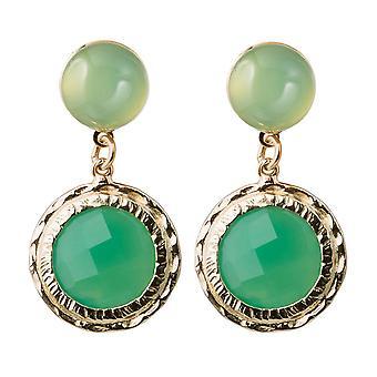 Gemshine Damen Ohrringe mit grünen Chalcedon Edelsteinen. 925 Silber oder hochwertig vergoldet - Nachhaltiger, qualitätsvoller Schmuck Made in Spain