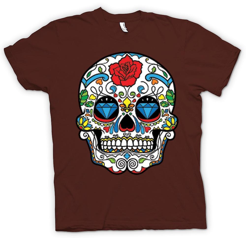 Herr T-shirt - mexikanska socker skalle - Dia De Los Muertos