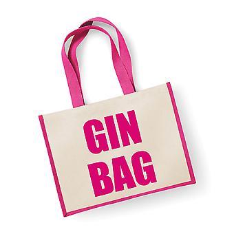 Large Pink Jute Bag Gin Bag