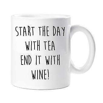 Start dagen med te avsluttes med vin krus