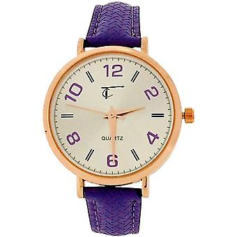 Time Collection Analogue Ladies Girls Purple PU Strap Watch TC73C