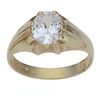 9ct Gold oval solitaire CZ set Dress Ring Size Z