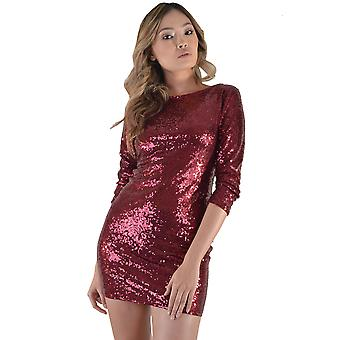 LMS Long Sleeve Red Sequin Dress With Plunge Back
