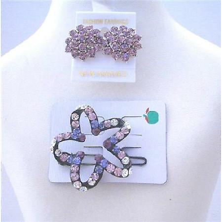 Star Flower Hair Barrette Ametheyst Crystals w/ Crystals Earrings