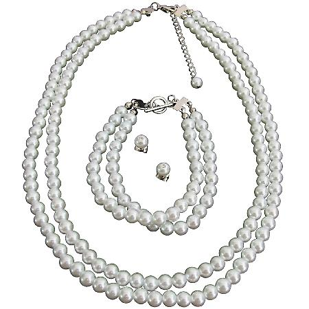 Bridal Wedding Jewelry Set White Pearls Complete Set