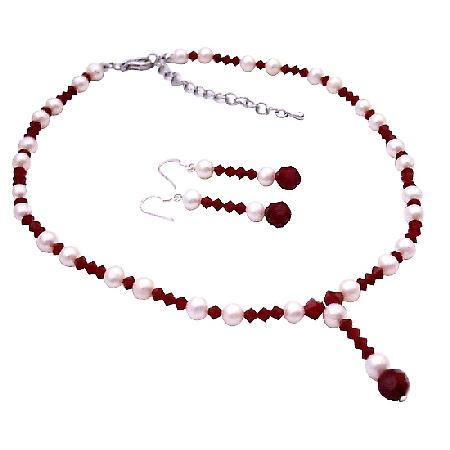 Bridal Jewelry Swarovski White Pearls & Red Crystal Necklace Earrings