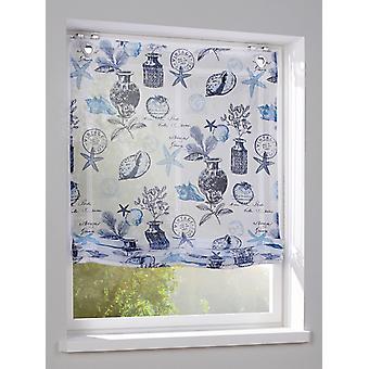 Heine casa romana pantalla Maritim azul estampado tela con accesorios de gancho y ojal cierre incl.